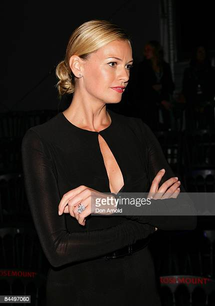 Sarah Murdoch poses backstage immediately after the catwalk show for Fashion Targets Breast Cancer with Alex Perry and IMG Fashion gala event...