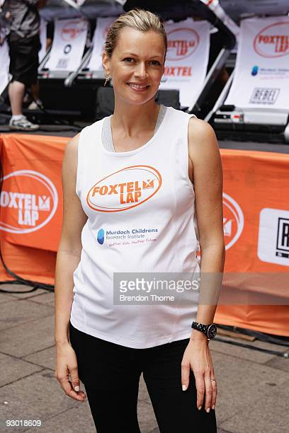 Sarah Murdoch takes part in The Foxtel Lap 2009 whereby teams of 20 compete to run or walk as many 100m laps for chairty at Martin Place on November...