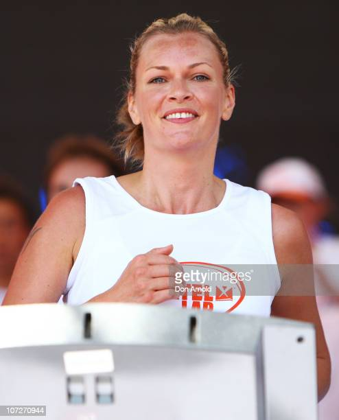 Sarah Muroch competes in the The Foxtel Lap Sydney challenge where corporate and celebrity teams compete to run 100m laps on a treadmill in aid of...