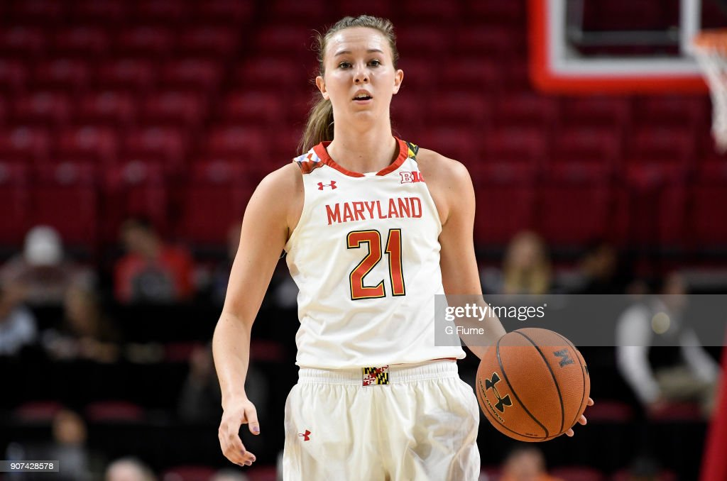 Sarah Myers #21 of the Maryland Terrapins handles the ball against the Mount St. Mary's Mountaineers at Xfinity Center on December 6, 2017 in College Park, Maryland.