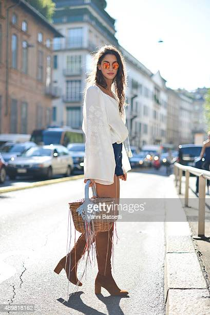 Sarah Nicole Rossetto poses wearing a Lipstick Sisters total look before the Max Mara show during the Milan Fashion Week Spring/Summer 16 on...