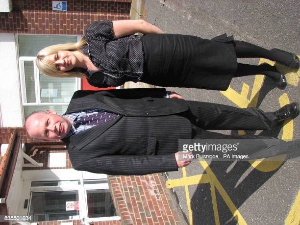 Sarah Nixon and her barrister Peter Ward outside an employment tribunal in Bury St Edmunds Suffolk