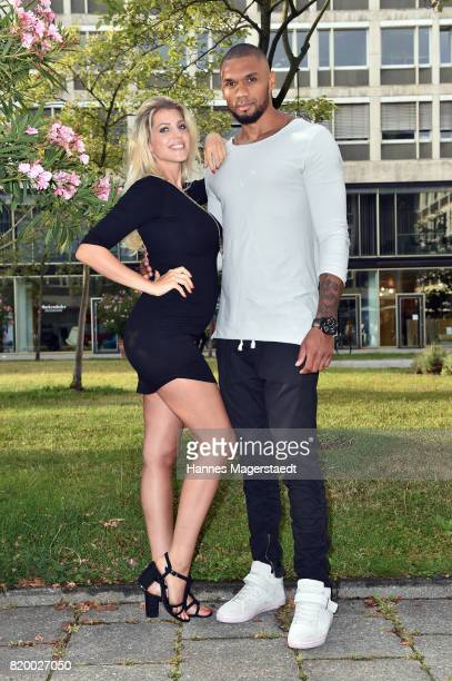 Sarah Nowak and Dominic Harrison attend the 'Cotidiano Restaurant Opening' on July 20 2017 in Munich Germany