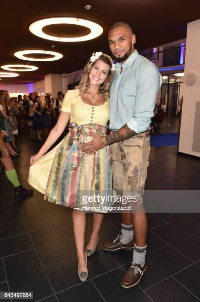 Sarah Nowak and her partner Dominic Harrison during the Angermeier Trachten Nacht at Alte Kongresshalle on September 6 2017 in Munich Germany