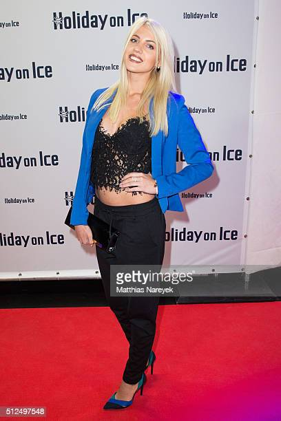 Sarah Nowak attends the Berlin premiere of the show 'Holiday on Ice Passion' on February 26 2016 in Berlin Germany