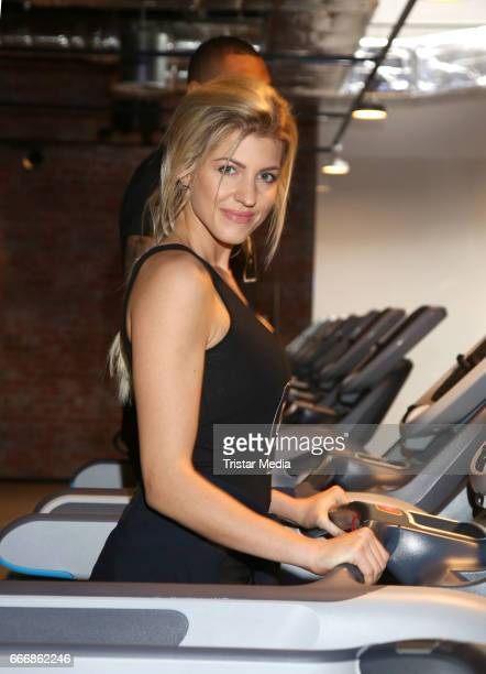 Sarah Nowak attends the JOHN REED Fitness Music Club Opening on April 10 2017 in Hamburg Germany