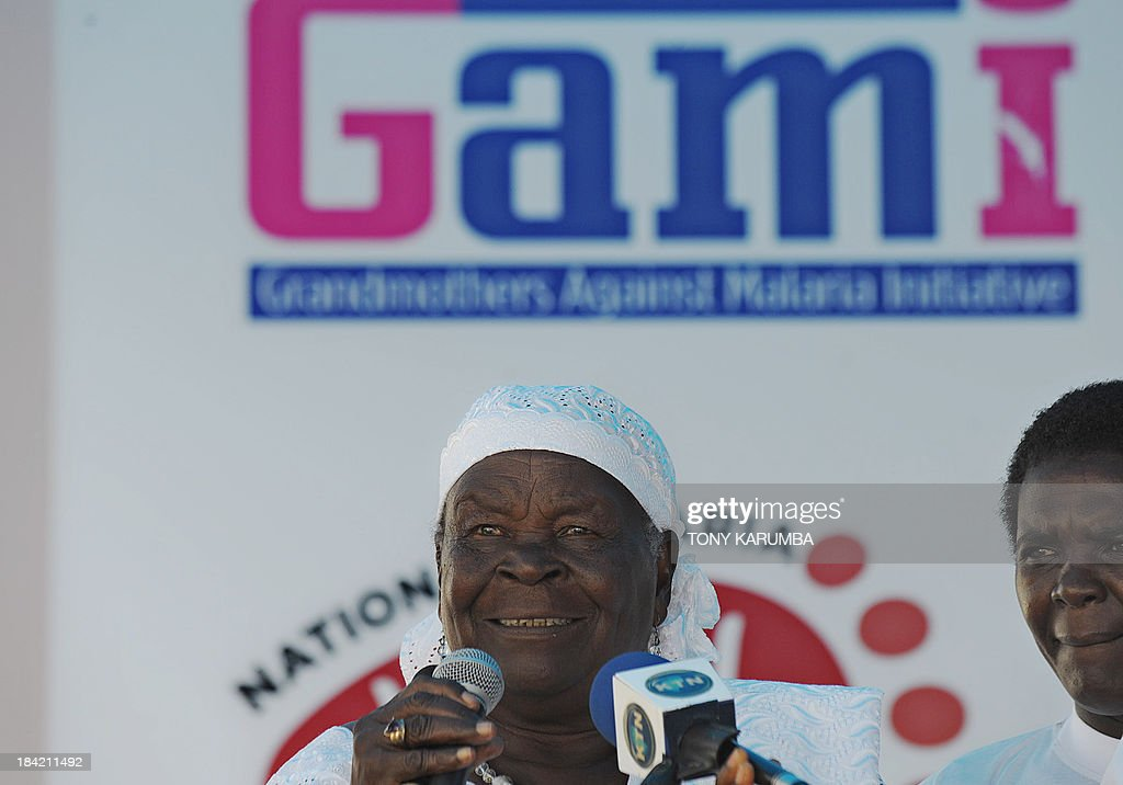 Sarah Obama, 86 step-grandmother of US President, gives a speech on October 12, 2013 in Nairobi, at the launch of a walk sponsored by Grandmothers Against Malaria Initiative (GAMI), a nonprofit organization dedicated to eradicating malaria through evidence-based treatment strategies and prevention awareness. Sarah, who is the Intergovernmental institution for the use of Micro-Algae Spirulina against Malnutrition (IIMAM) goodwill ambassador flagged of tens of participants at the National Malaria Walk to support the purchase of 50,000 treated mosquito nets to curb deaths of 16,000 children that occur annually from malaria which is responsible for 25 percent of deaths of children under fiver in Africa. AFP PHOTO/Tony KARUMBA