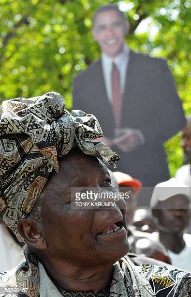 Sarah Obama a grand mother of America's President elect Barack Obama gives a press conference at her residence on November 5 2008 in the village of...