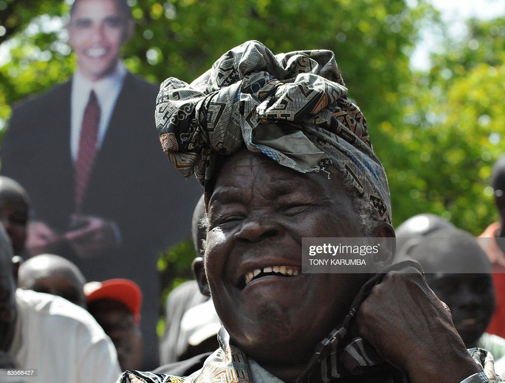 <a gi-track='captionPersonalityLinkClicked' href=/galleries/search?phrase=Sarah+Obama&family=editorial&specificpeople=2501809 ng-click='$event.stopPropagation()'>Sarah Obama</a>, a grand mother of America's President elect Barack Obama, smiles after giving a press conference at her residence on November 5, 2008 in the village of Kogelo. Sarah along with other family members expressed relief and joy at Barack Obama's election following the anouncement of results ealier this morning. Hundreds of villagers in Kogelo, Barack Obama's Kenyan family homestead, erupted into song and dance at the news that the nation's favourite son had won the US presidential election. AFP PHOTO / Tony KARUMBA