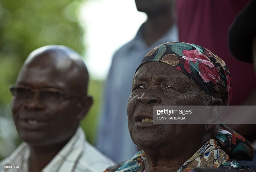 Sarah Obama, step-grandmother to USA's incumbent President Barack Obama gives a press conference held at her homestead, on November 6, 2012 in the village of Kogelo in western Kenya,where Obama's father was born. 'I pray for him, for God to help him. It is a tough race so i have prayed for him. If this is his turn, God will let him triumph', she said in her local 'Luo' tongue. Americans headed to the polls on November 6, 2012 after a burst of last-minute campaigning by President Barack Obama and Mitt Romney in a nail-biting contest unlikely to heal a deeply polarized nation. AFP PHOTO/Tony KARUMBA