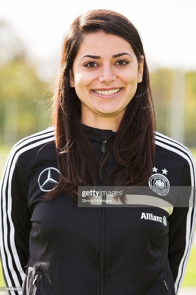 Sarah Oezdemir of Germany poses during the German Girls U15 national team presentation at Wiener Ring training ground on October 29, 2013 in Offenbach, Germany.