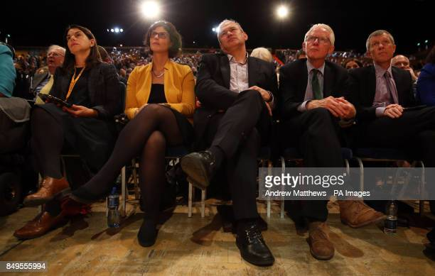 Sarah Olney Layla Moran MP Ed Davey MP Norman Lamb MP and leader of the Scottish Liberal Democrats Willie Rennie listen to leader Sir Vince Cable's...