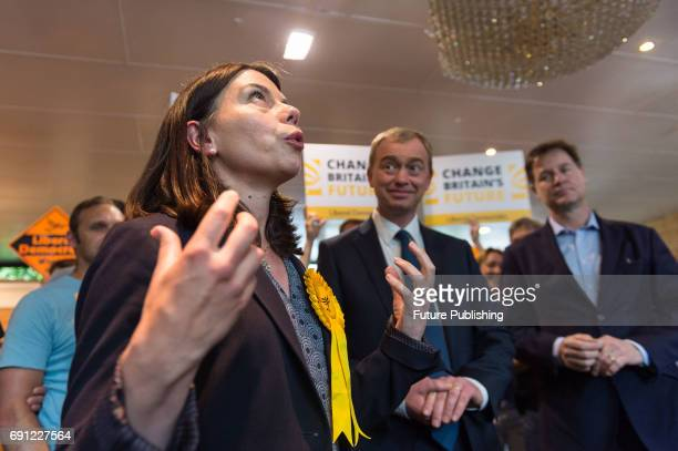 Sarah Olney Liberal Democrat candidate for Richmond Park takes part in the rally at the Shiraz Mirza Community Hall after visiting Kingston Hospital...