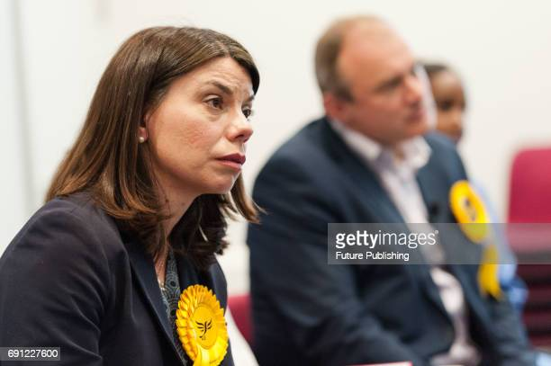 Sarah Olney Liberal Democrat candidate for Richmond Park visits Kingston Hospital to support staff members from the EU in the prospect of Brexit as...