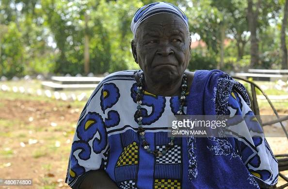 Sarah Onyango Obama US President Barack Obama step grandmother sits in the garden on July 14 2015 at her home in Kogelo western Kenya 'Mama Sarah' as...