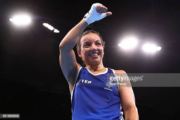 Sarah Ourahmoune of France celebrates after defeating Ingrit Lorena Valencia Victoria of Colombia in a Women's Fly Semifinal bout on Day 13 of the...