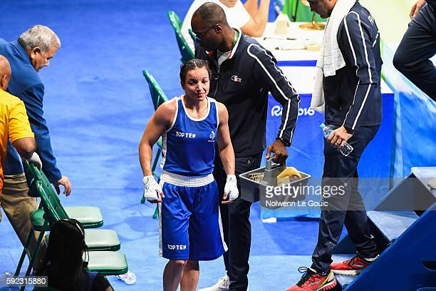 Sarah Ourahmoune of France during a Women's Fly final bout on Day 15 of the 2016 Rio Olympic Games at Riocentro Pavilion 6 on August 18 2016 in Rio...