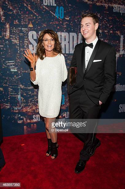 Sarah Palin and guest attend the SNL 40th Anniversary Celebration at Rockefeller Plaza on February 15 2015 in New York City