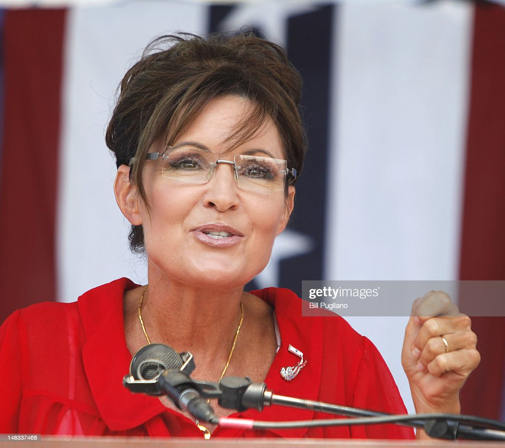 <a gi-track='captionPersonalityLinkClicked' href=/galleries/search?phrase=Sarah+Palin&family=editorial&specificpeople=4170348 ng-click='$event.stopPropagation()'>Sarah Palin</a>, former Governor of Alaska and 2008 Republican Vice Presidential candidate speaks at a 'Patriots in the Park' Tea Party rally at the Wayne County Fairgrounds July 14, 2012 in Belleville, Michigan. The event was sponsored by Americans for Prosperity: Michigan and the Willow Run Tea Party Caucus.