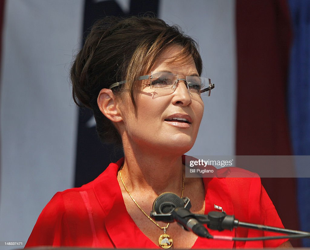 Sarah Palin, former Governor of Alaska and 2008 Republican Vice Presidential candidate speaks at a 'Patriots in the Park' Tea Party rally at the Wayne County Fairgrounds July 14, 2012 in Belleville, Michigan. The event was sponsored by Americans for Prosperity: Michigan and the Willow Run Tea Party Caucus.