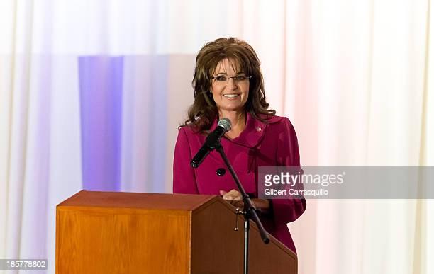 Sarah Palin former Governor of Alaska speaks at Terri Schiavo Life and Hope Network Award Gala at Philadelphia Marriott Downtown on April 5 2013 in...