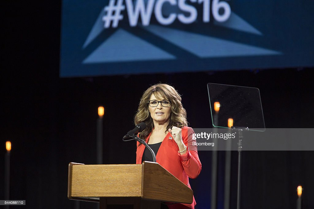 Sarah Palin, former governor of Alaska, speaks during the Western Conservative Summit in Denver, Colorado, U.S., on Friday, July 1, 2016. Republican presidential candidate Donald Trump is looking to project party unity in the Hamptons next week, when he'll huddle with Republican National Committee Chairman Reince Priebus at a fundraiser featuring top donors to some of his former rivals. Photographer: Matthew Staver/Bloomberg via Getty Images