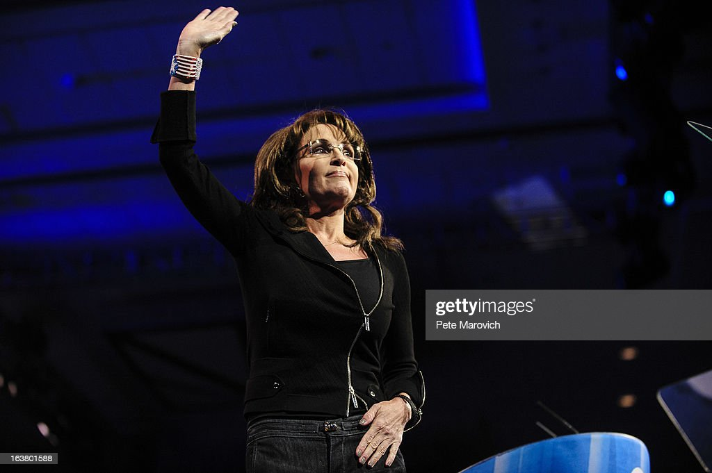 Sarah Palin, former Governor of Alaska, waves at the 2013 Conservative Political Action Conference (CPAC) March 16, 2013 in National Harbor, Maryland. The American Conservative Union held its annual conference in the suburb of Washington, DC to rally conservatives and generate ideas.