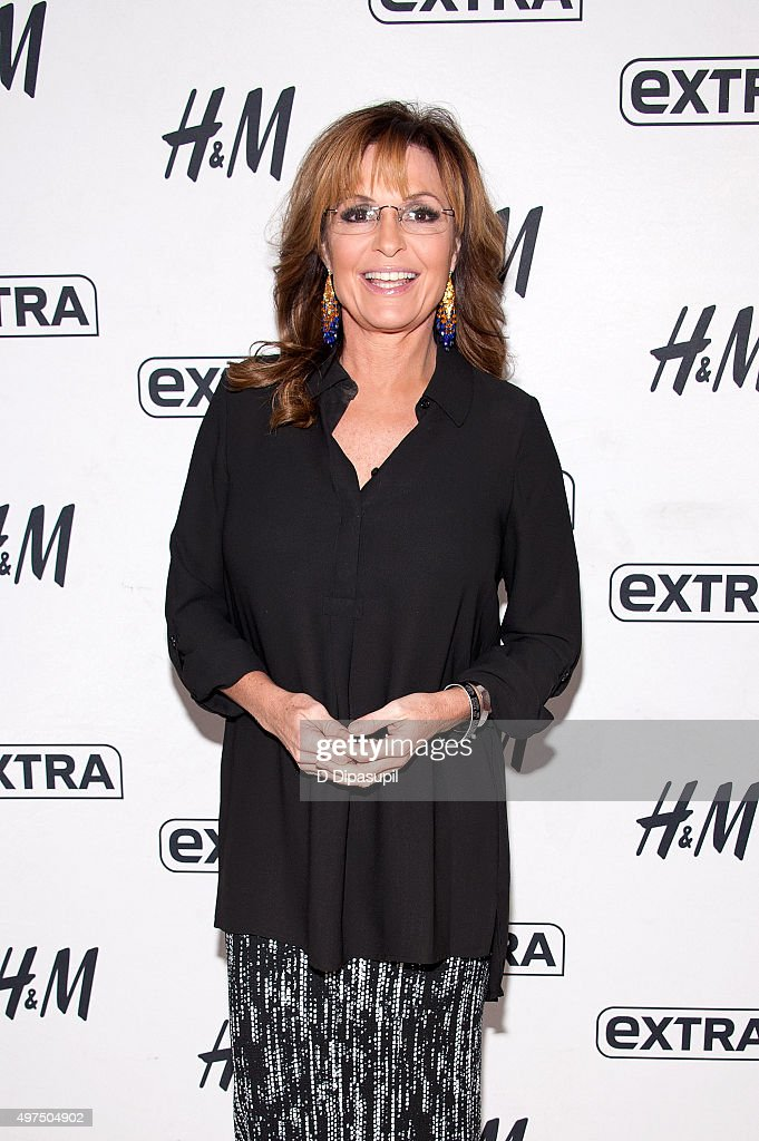 <a gi-track='captionPersonalityLinkClicked' href=/galleries/search?phrase=Sarah+Palin&family=editorial&specificpeople=4170348 ng-click='$event.stopPropagation()'>Sarah Palin</a> visits 'Extra' at their New York studios at H&M in Times Square on November 17, 2015 in New York City.