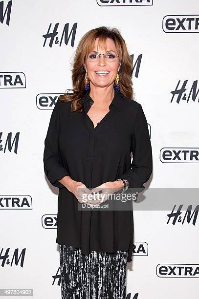 Sarah Palin visits 'Extra' at their New York studios at HM in Times Square on November 17 2015 in New York City