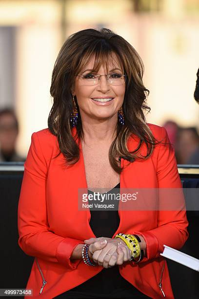Sarah Palin visits 'Extra' at Universal Studios Hollywood on December 4 2015 in Universal City California