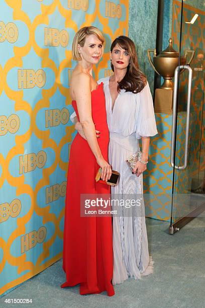 Sarah Paulson and Amanda Peet arrives at the HBO'S Post Golden Globe Party at The Beverly Hilton Hotel on January 11 2015 in Beverly Hills California