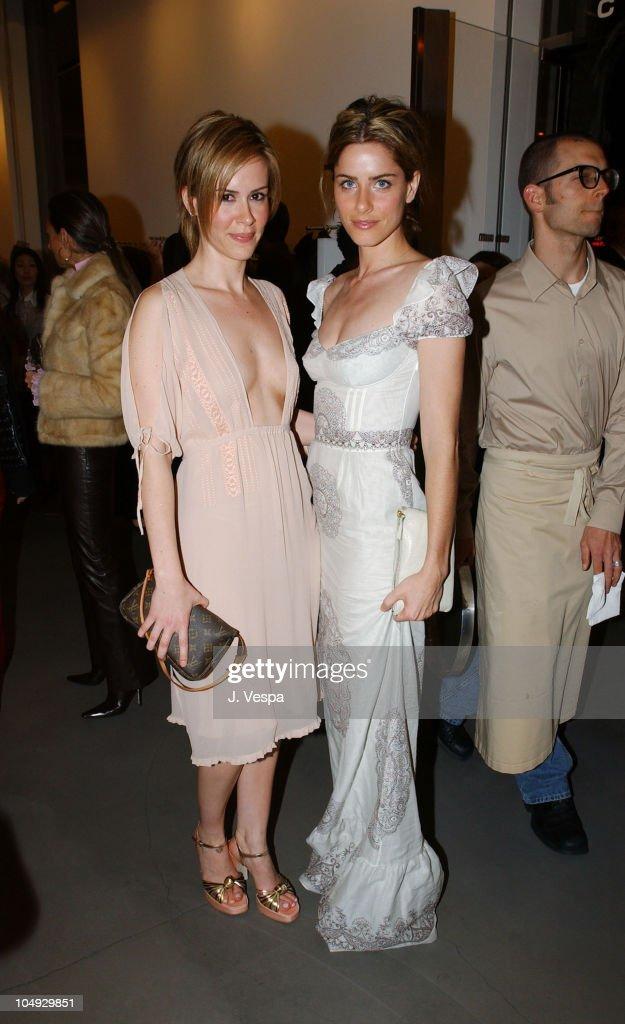 Sarah Paulson and Amanda Peet during Miu Miu Party at Miu Miu Store in Los Angeles California United States