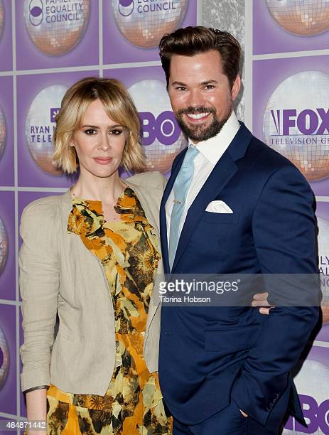 Sarah Paulson and Andrew Rannells attend the Family Equality Council's Los Angeles awards dinner at The Beverly Hilton Hotel on February 28 2015 in...