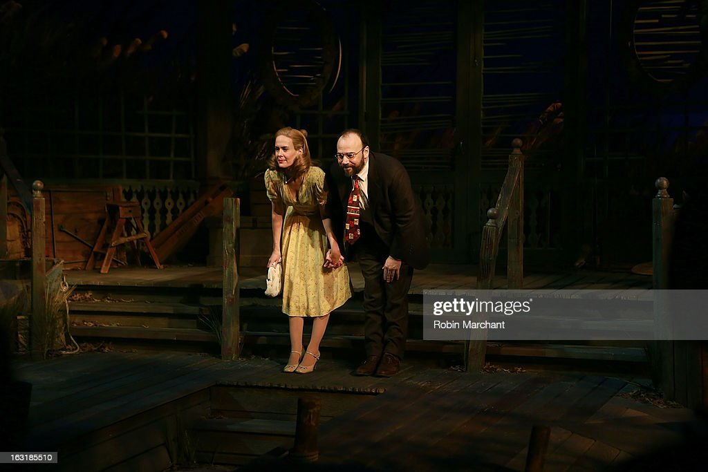 <a gi-track='captionPersonalityLinkClicked' href=/galleries/search?phrase=Sarah+Paulson&family=editorial&specificpeople=220657 ng-click='$event.stopPropagation()'>Sarah Paulson</a> (L) and Danny Burstein during curtain call for 'Talley's Folly' Opening Night at Laura Pels Theatre at the Harold & Miriam Steinberg Center for on March 5, 2013 in New York City.
