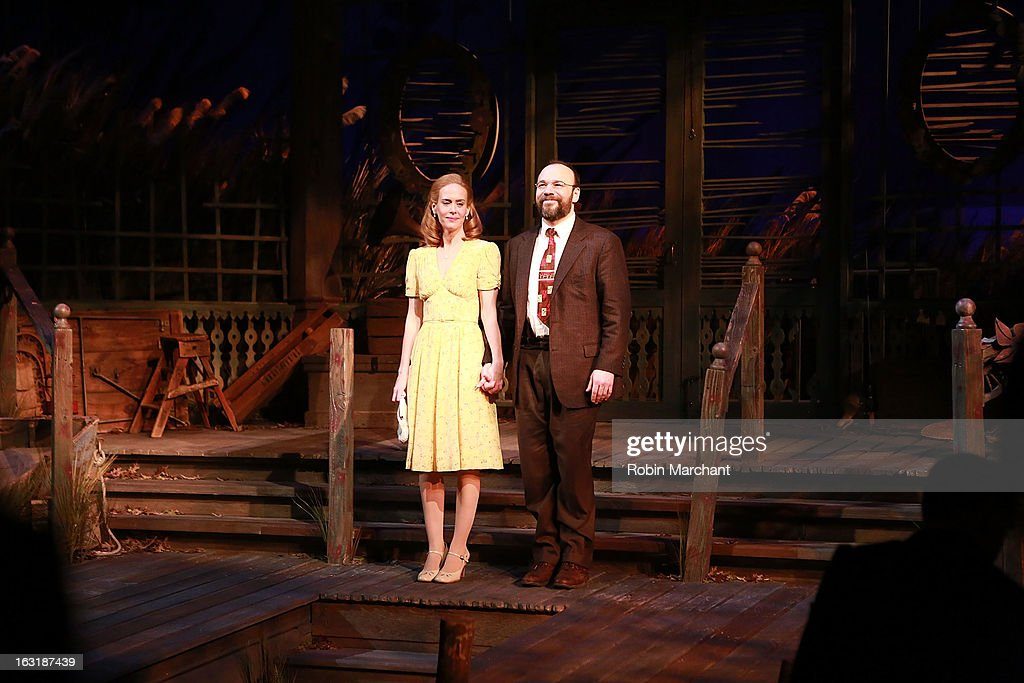 Sarah Paulson (L) and Danny Burstein during Curtain Call for 'Talley's Folly' Opening Night at Laura Pels Theatre at the Harold & Miriam Steinberg Center for on March 5, 2013 in New York City.