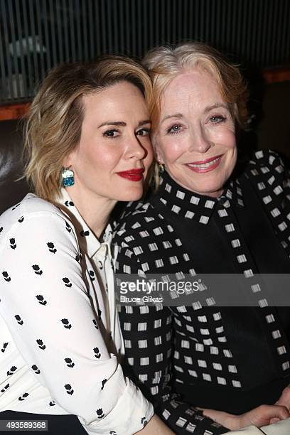 Sarah Paulson and Holland Taylor pose at the Opening Night Afterparty for 'Ripcord' at The Brasserie 8 and 1/2 on October 20 2015 in New York City