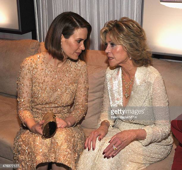 Sarah Paulson and Jane Fonda attend the 2014 Vanity Fair Oscar Party Hosted By Graydon Carter on March 2 2014 in West Hollywood California