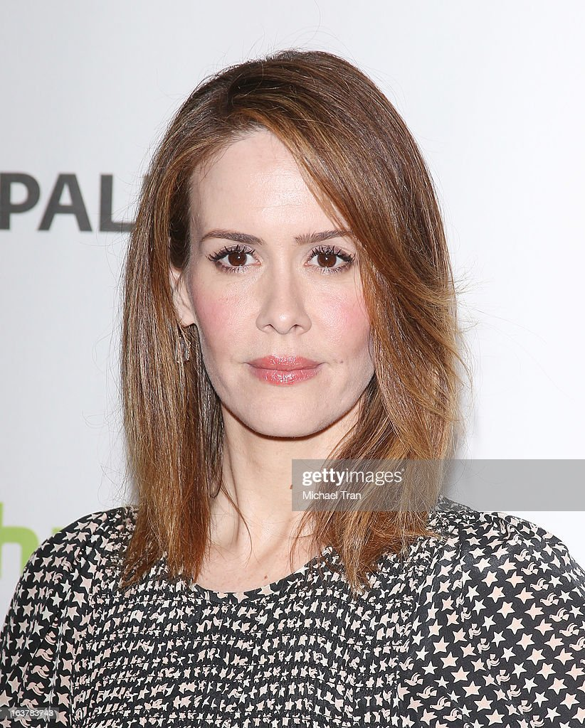 <a gi-track='captionPersonalityLinkClicked' href=/galleries/search?phrase=Sarah+Paulson&family=editorial&specificpeople=220657 ng-click='$event.stopPropagation()'>Sarah Paulson</a> arrives at the 30th Annual PaleyFest: The William S. Paley Television Festival - 'American Horror Story: Asylum' - closing night presentation held at Saban Theatre on March 15, 2013 in Beverly Hills, California.