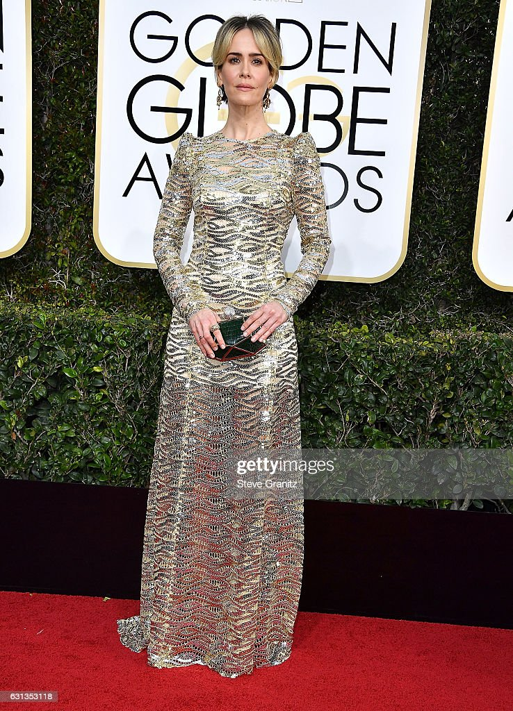 Sarah Paulson arrives at the 74th Annual Golden Globe Awards at The Beverly Hilton Hotel on January 8, 2017 in Beverly Hills, California.