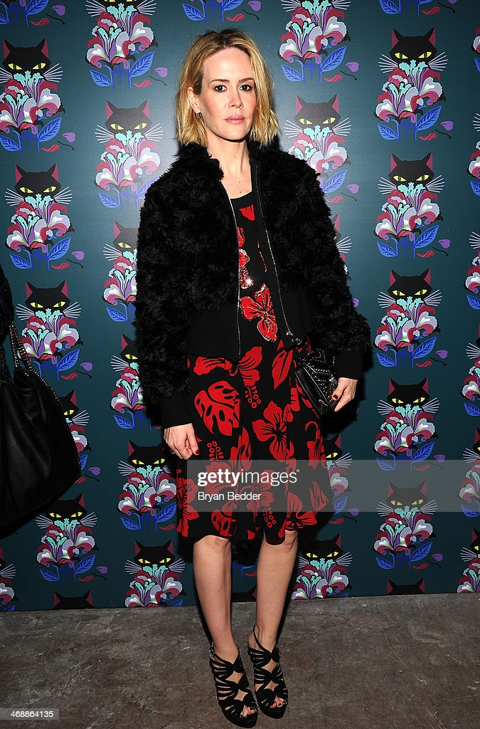 <a gi-track='captionPersonalityLinkClicked' href=/galleries/search?phrase=Sarah+Paulson&family=editorial&specificpeople=220657 ng-click='$event.stopPropagation()'>Sarah Paulson</a> attends Miu Miu Women's Tales 7th Edition - 'Spark & Light' Screening - Arrivals at Diamond Horseshoe on February 11, 2014 in New York City.