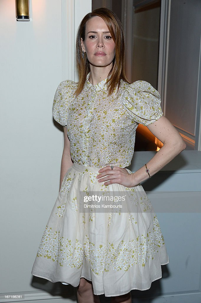 <a gi-track='captionPersonalityLinkClicked' href=/galleries/search?phrase=Sarah+Paulson&family=editorial&specificpeople=220657 ng-click='$event.stopPropagation()'>Sarah Paulson</a> attends the after party for The Cinema Society with FIJI Water & Levi's screening of 'Mud' at Harlow on April 21, 2013 in New York City.