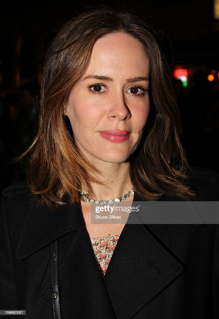 <a gi-track='captionPersonalityLinkClicked' href=/galleries/search?phrase=Sarah+Paulson&family=editorial&specificpeople=220657 ng-click='$event.stopPropagation()'>Sarah Paulson</a> attends the Broadway opening night of 'Cat On A Hot Tin Roof' at The Richard Rodgers Theatre on January 17, 2013 in New York City.