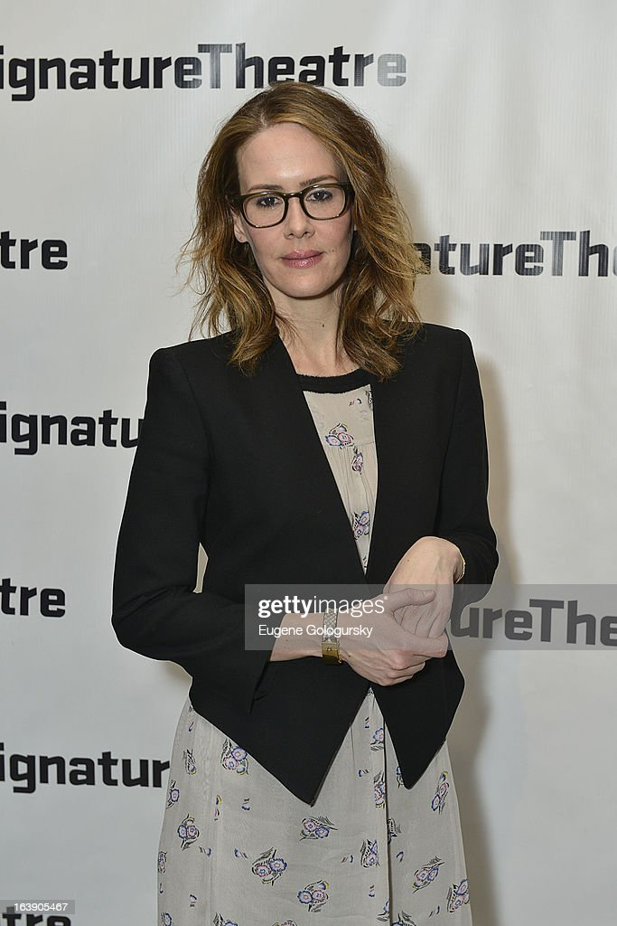 <a gi-track='captionPersonalityLinkClicked' href=/galleries/search?phrase=Sarah+Paulson&family=editorial&specificpeople=220657 ng-click='$event.stopPropagation()'>Sarah Paulson</a> attends 'The Mound Builders' Opening Night Party at Signature Theatre Company's The Pershing Square Signature Center on March 17, 2013 in New York City.