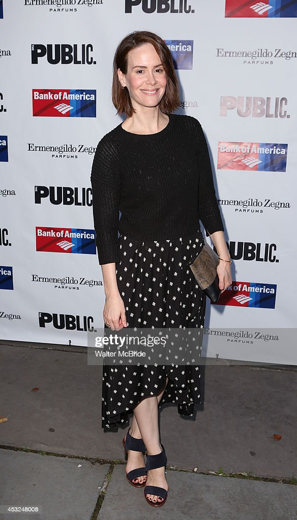 <a gi-track='captionPersonalityLinkClicked' href=/galleries/search?phrase=Sarah+Paulson&family=editorial&specificpeople=220657 ng-click='$event.stopPropagation()'>Sarah Paulson</a> attends the The Public Theatre's Opening Night Performance of 'King Lear' at the Delacorte Theatre on August 5, 2014 in New York City.