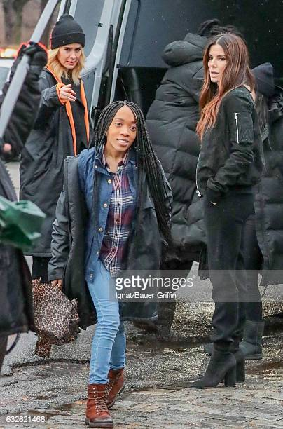 Sarah Paulson Nathanya Alexander and Sandra Bullock are seen on January 24 2017 in New York City