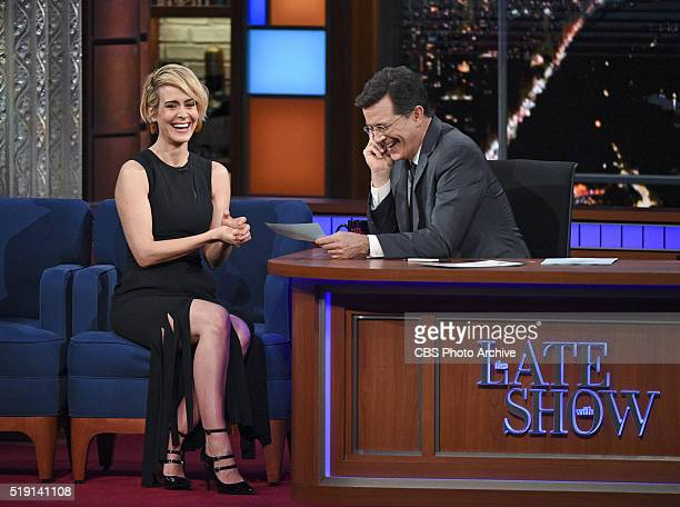 Sarah Paulson on The Late Show with Stephen Colbert Thursday March 31 2016 on the CBS Television Network