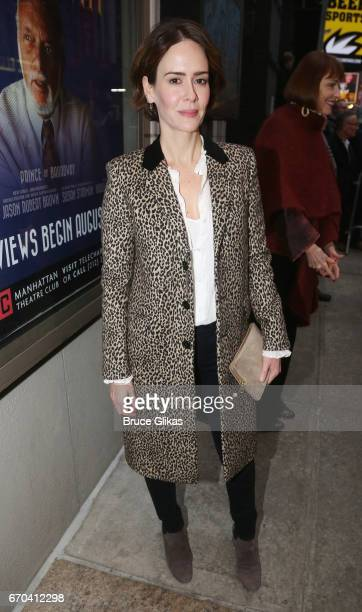 Sarah Paulson poses at the opening night arrivals for The Manhattan Theatre Club's production of 'The Little Foxes' on Broadway at The Samuel J...