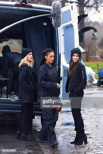 Sarah Paulson Rihanna and Sandra Bullock seen at the 'Ocean's Eight' film set in Central Park on January 24 2017 in New York City