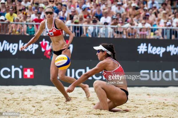 Sarah Pavan and Melissa HumanaParedes of Canada in action during Day 8 of the FIVB Beach Volleyball World Championships 2017 during Day 8 of the FIVB...