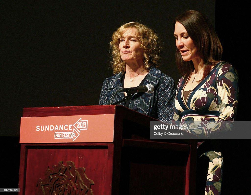 Sarah Pierce and Lori Hopkins speak at the SLC Gala Green Room during the 2013 Sundance Film Festival at Rose Wagner Performing Arts Center on January 18, 2013 in Salt Lake City, Utah.